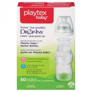 اكياس الرضاعات الشفافة 118مل 50 حبة بلايتكس Playtex Baby Drop-Ins Liners For Playtex Baby Nurser Bottles 4-6oz 50 Count
